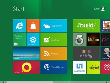 Bild på det tänkta gränssnittet i Windows 8