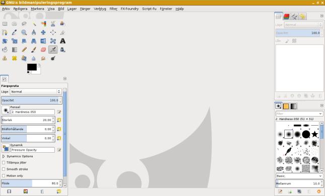 Det nya alternativet: GIMP i ett fönster.
