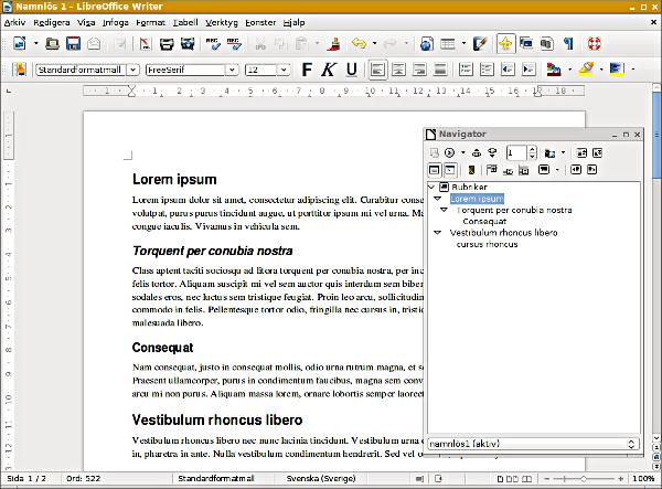 LibreOffice Writer Navigator fritt flytande