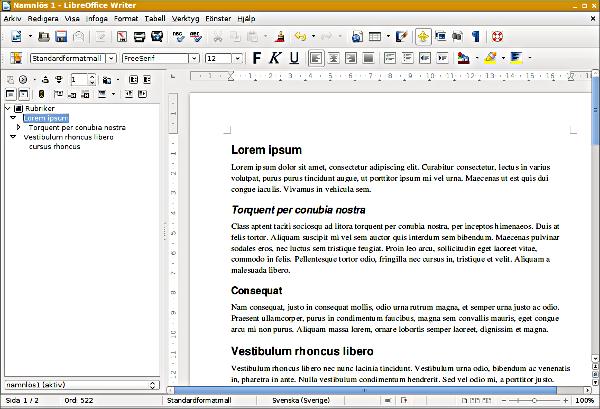 LibreOffice Writer Navigator dockad